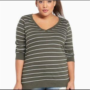 Torrid Olive & White Striped V Neck Shirt